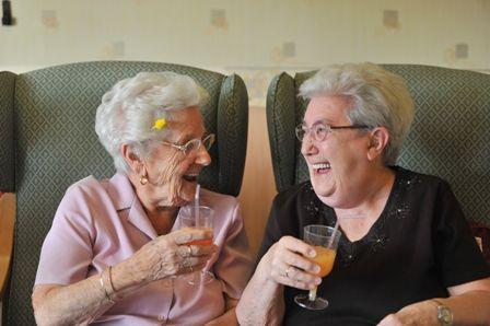 Elderly celebrating at home